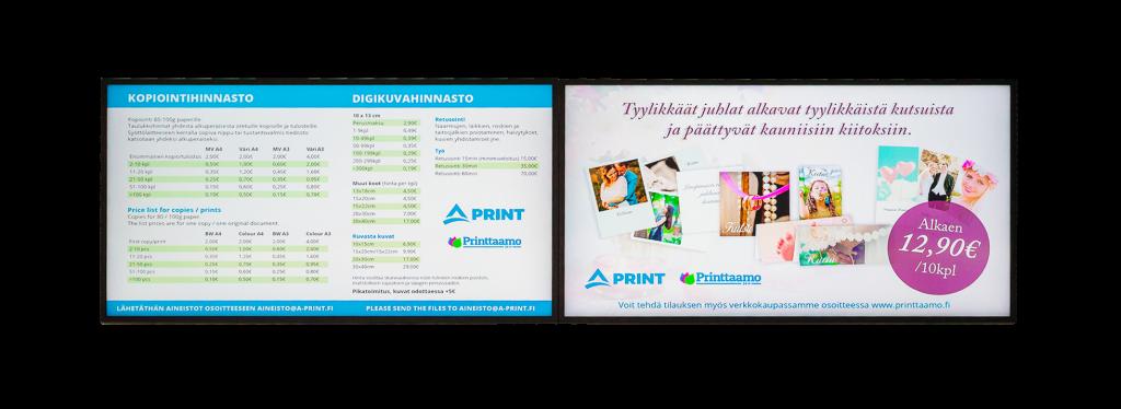 a-print tuote infonäytöt pari